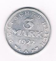 3 MARK 1922 A DUITSLAND /9130/ - 3 Mark & 3 Reichsmark