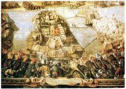 "Malta. Valletta. Palace Of The Grandmasters. A Fresco By Matteo D'Aleccio Showing ""The Attack On Fort St. Michael"" 1565. - Malte"