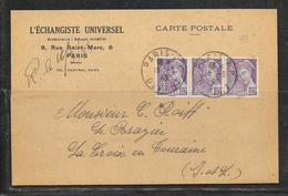 LOT 1812297 - N° 413 (BANDE DE 3) SUR CP DE PARIS DU 15/03/43 POUR LA CROIX EN TOURAINE - L'ECHANGISTE UNIVERSEL - 1921-1960: Modern Period