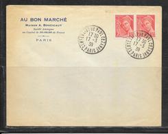 LOT 1812298 - N° 412 EN PAIRE SUR LETTRE DE PARIS DU 17/03/39  - AU BON MARCHE - CACHET PAUL CEZANNE - Poststempel (Briefe)