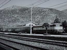 Photo Ancienne Train Locomotive Treno Stazione Gare Italie Italia - Stations With Trains