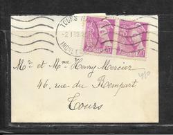 LOT 1812300 - N° 410 EN PAIRE SUR LETTRE MIGNONETTE DE TOURS DU 02/01/39 POUR TOURS - 1921-1960: Modern Period