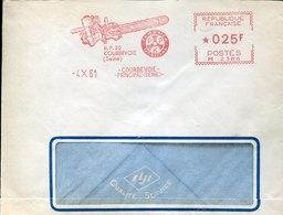40968 France, Red Meter Freistempel Ema, 1961 Courbevoie, Scie  Saw - EMA ( Maquina De Huellas A Franquear)