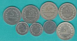 El Salvador - 5 Centavos X 8 - 1948 (KM134), 1956 (KM134a), 1975 (KM149), 1976 (KM149a), 1977 (KM149b), 1987 (KM154), 19 - Salvador