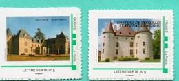 """2 Timbres- """" Châteaux,:Canton De LAPALISSE 03""""- Montimbreà Moi- - France"""