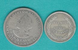 El Salvador - 25 Centavos (1914 - KM126) & 50 Centavos (1893 - KM113) - Salvador