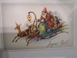 TI  - Carte  Joyeux Noel - Illustrateur - Père Noël Dans Son Traineau  - Rennes - Enfants Cadeaux - Santa Claus