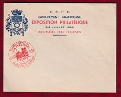Enveloppe Vierge Exposition Philatélique 1938 - F.S.P.F. Musée De Reims - Autres
