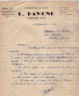 VP13.766 - Lettre - Conserves Du Pays , Foies Gras , Truffes , Crème De Marrons , Gibier L. RAMOND à LIMOGNE ( Lot ) - Food