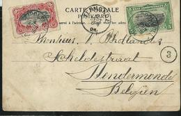 Carte-vue : Le Fleuve à Boma Avec N° 16 Et 19 Obl. Léopoldville 04/08/1904 Pour Termonde 05/09/1904 - 1894-1923 Mols: Lettres