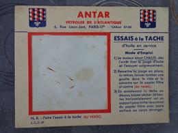 ANTAR LUBRIFIANT PETROLES DE L'ATLANTIQUE  ESSAIS A LA TACHE  13.5 PAR 10.5 CM - Publicités