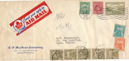 Lettre AVION De MONCTON CANADA 17/2/49 - TAXE à 112f ! à Lyon à L'arrivée- Affranchissement Insuffisant Pour Le Poids - Postage Due