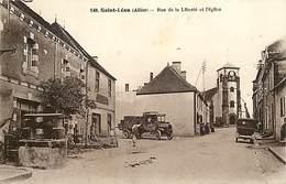 - Allier -ref-C301- Saint Leon - St Leon - Rue De La Liberte Et L Eglise - Cafe - Cafes - Camion De Livraison - - Francia