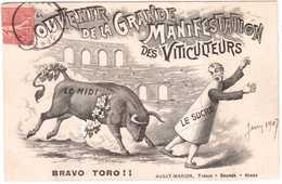 CPA GARD.SOUVENIR DE LA GRANDE MANIFESTATION DES VITICULTEURS 1907 - Nîmes