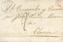 """D.P. 4. 1847. Bubal(Huesca) A Olorón (Francia). Depositada En El Correo Francés, Fechada En ARUDY Y """"boite Rurale"""" K. Ra - ...-1850 Prefilatelia"""