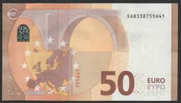 """50 EURO ITALIA  SA  S017 H5 LAST POSITION  Ch. """"33""""  - DRAGHI   UNC - 50 Euro"""