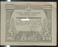 Tableau D'Honneur 1er Trimestre 1948 - Lycée Henri Poincarré Nancy - Très Bon état - Diplômes & Bulletins Scolaires