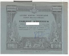 Tableau D'Honneur 2ème Trimestre 1948 - Lycée Henri Poincarré Nancy - Très Bon état - Diplômes & Bulletins Scolaires