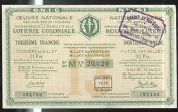 Billet De Loterie Coloniale Belge - Oeuvre Nationale Des Invalides De La Guerre - 1935 - Billets De Loterie