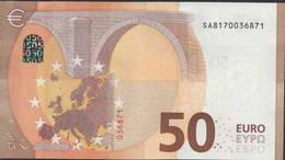 """50 EURO ITALIA  SA  S011 H5 LAST POSITION  Ch. """"17""""  - DRAGHI   UNC - EURO"""