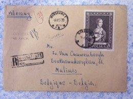 """Poland 1957 Registered Cover To Belgium Bounced Back (see Labels) - Painting """"Lady With The Ermine"""" By Leonard Da Vinci - 1944-.... République"""
