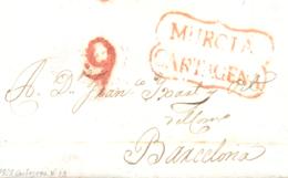 D.P. 21. 1828. Carta De Cartagena A Barcelona. Marca P.E. 13 En Rojo. - ...-1850 Prefilatelia