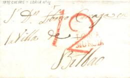 D.P. 21. 1838. Carta De Las Cuevas Bilbao. Marca De Lorca P.E. 4, En Rojo. - Spanje