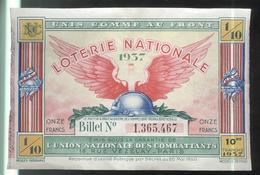 Billet De Loterie 1/10 Union Nationale Des Combattants 1937 - Billets De Loterie