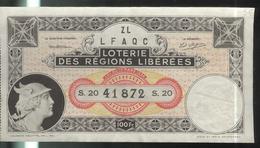 Billet De Loterie 100 Fr. Loterie Des Régions Libérées 1935 - Billets De Loterie