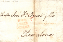 D.P. 25. 1829. Carta De Gibraltar A Barcelona. Marca P.E. 10 De San Roque. - Spanje