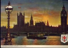 The Houses Of Parlament And Big Ben At Sunset - London - Formato Grande Viaggiata Mancante Di Affrancatura – E 9 - Cartoline