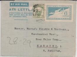 Burma Airmail Cover To Pakistan, Stamps Aerogram, Bird, Myanmar   (A-801) - Myanmar (Birmanie 1948-...)