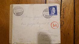 ENVELOPPE AVEC LETTRE TIMBRE HITLER DEUTSCHES REICH 1943 OBERHAUSEN - Briefe U. Dokumente