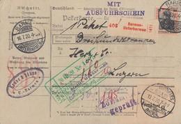 DR Paketkarte Mif Minr.89II,2x 96BII,2x 113 Barmen 16.7.20 - Deutschland