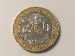 1992 France French Mount St Michel 20 Francs - Ex Fine - L. 20 Francs