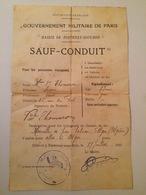 SAUF-CONDUIT-GOUVERNEMENT MILITAIRE DE PARIS- FONTENAY-S-BOIS- TRANSPORT PAR TRAIN POUR ALGER-1915 - Titres De Transport