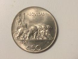 1920 Italy Italia 50 Centesimi Coin, Very Fine - 1861-1946 : Kingdom