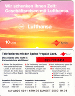 GERMANY - Lufthansa, Sprint Prepaid Card 10 Units, Tirage 3500, 10/94, Unused - Germany