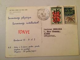 CARTE POSTALE MADAGASCAR -PUBLICITE IONYL- TIMBRES GIROFLE ET MANIOC-1959 - Madagascar (1960-...)