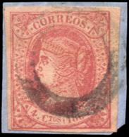 Ø 64 Con Marca Prefilatélica 'círculo De Puerto Llano' (Ciudad Real). Rara. - 1850-68 Reino: Isabel II