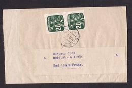 Czechoslovakia: Wrapper, 1968, 2 Imperforated Newspaper Stamps, Postman, Pair (traces Of Use) - Tsjechoslowakije
