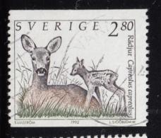 Sweden 1993 Used Sc #1927 2.80k Capreolus Capreolus Roe Deer With Fawn - Suède