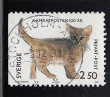 Sweden 1992 Used Sc #1951 2.50k Cat Children's Drawings - Suède