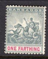 BARBADOS - 1892 ONE FARTHING WMK CROWN CA STAMP MINT MM * SG 105 - Barbados (...-1966)