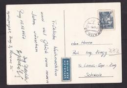 Czechoslovakia: Airmail PPC Picture Postcard To Switzerland, 1957, 1 Stamp, Labour, Uncommon Air Label (traces Of Use) - Tsjechoslowakije