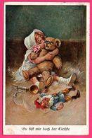 Du Bift Mir Doch Der LieBfte - Du Bist Mir Doch Der Liebe - Trompette - Fillette Avec Ourson - Nain - J. S. & Co - 1921 - Speelgoed & Spelen