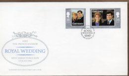1986 Royal Wedding Set FDC - Guernsey