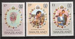 Swaziland 1981 Royal Wedding Diana And Charles, Mi 375-377 MNH(**) - Swaziland (1968-...)
