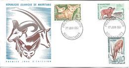 MAURITANIE FDC NOUAKCHOTT 1 Juin 1961 Mammifère Animal 3 Timbres Frnnec Mouflon Oryx Blanc - Mauritania (1960-...)