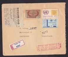 Czechoslovakia: Registered Cover To Netherlands, 1969, 3 Stamps, Customs Label C1, Customs Control Cancel (damaged) - Tsjechoslowakije
